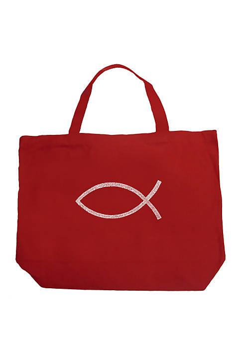 Large Word Art Tote Bag - JESUS FISH