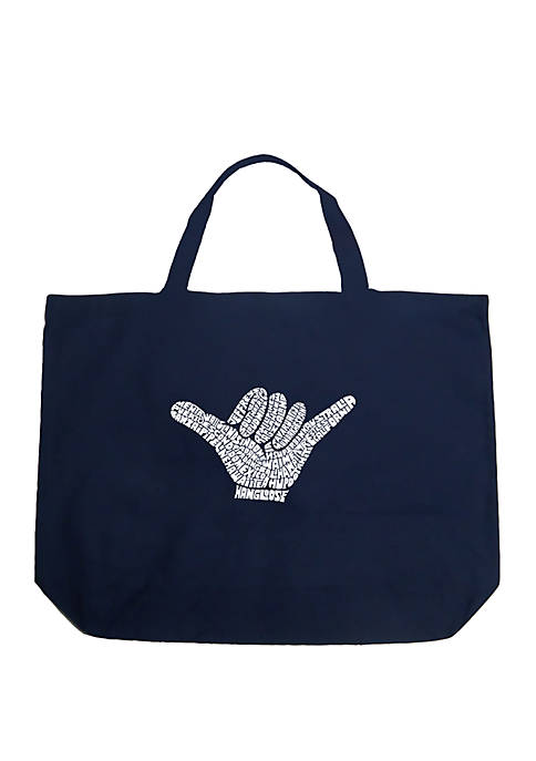 Large Word Art Tote Bag - Top Worldwide Surfing Spots
