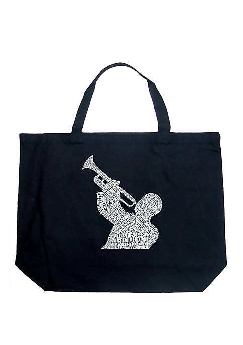 Large Word Art Tote Bag - All Time Jazz Songs