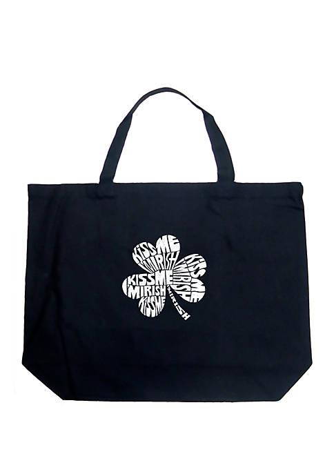Large Word Art Tote Bag - Kiss Me Im Irish