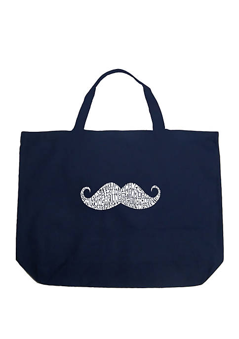 Large Word Art Tote Bag - WAYS TO STYLE A MUSTACHE
