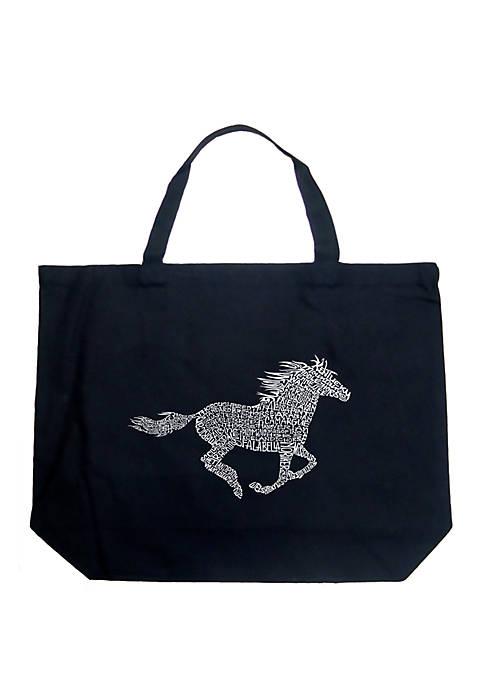 Large Word Art Tote Bag - Horse Breeds