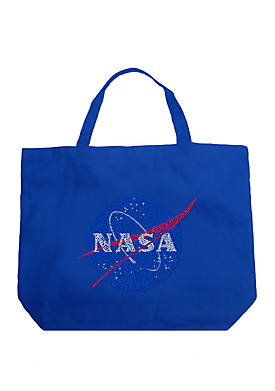 Large Word Art Tote Bag - NASAs Most Notable Missions