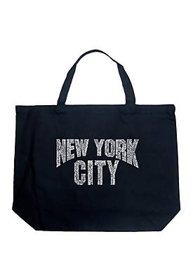 Large Word Art Tote Bag - NYC Neighborhoods
