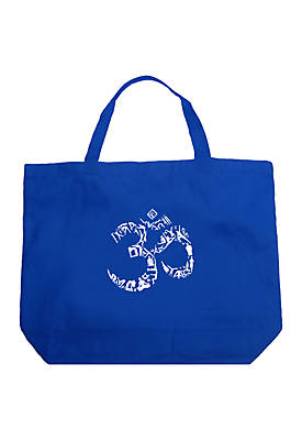 Large Word Art Tote Bag - The OM Symbol Out of Yoga Poses