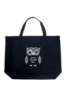 LA Pop Art Large Word Art Tote Bag - Owl