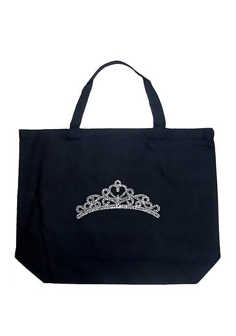 Large Word Art Tote Bag - Princess Tiara