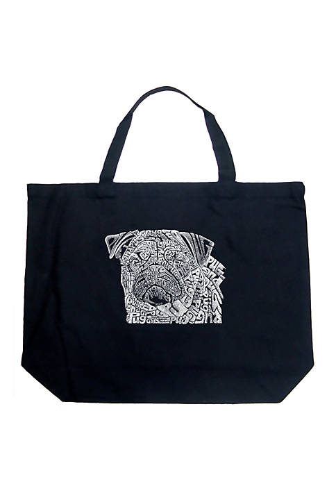 Large Word Art Tote Bag - Pug Face