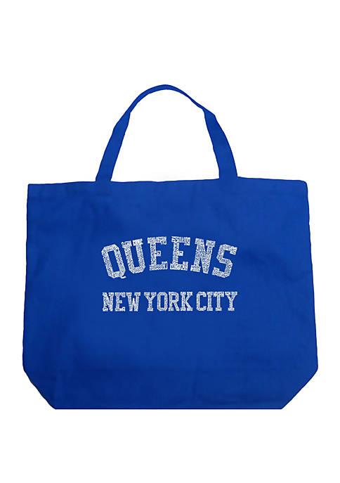 Large Word Art Tote Bag - Popular Neighborhoods in Queens, NY