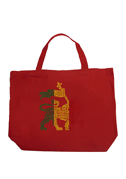Large Word Art Tote Bag - Rasta Lion - One Love