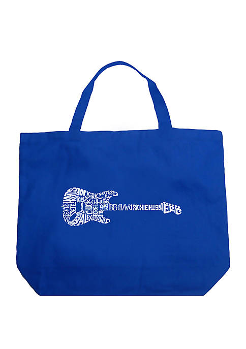 Large Word Art Tote Bag - Rock Guitar