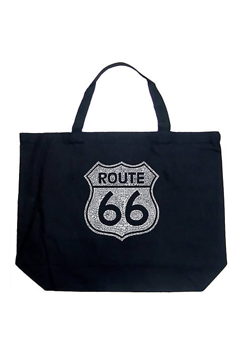 Large Word Art Tote Bag - Cities Along the Legendary Route 66