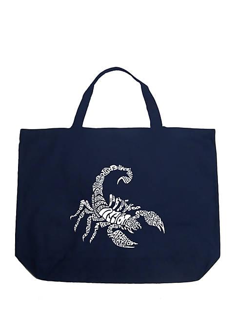 Large Word Art Tote Bag - Types of Scorpions