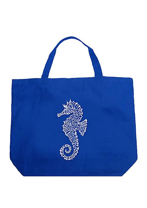 Large Word Art Tote Bag - Types of Seahorse