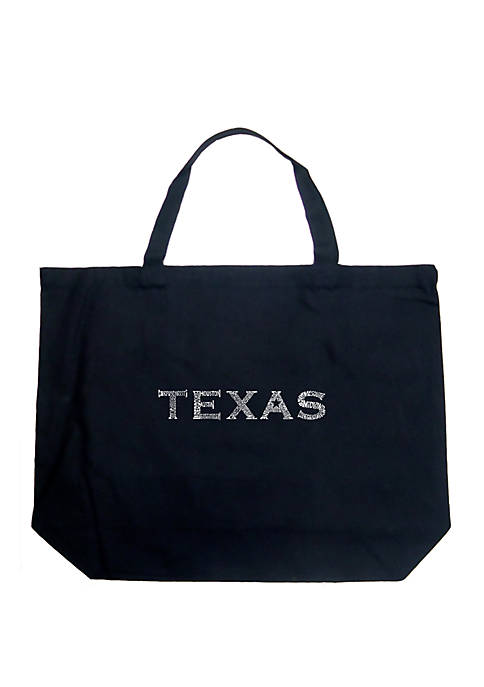 Large Word Art Tote Bag - THE GREAT CITIES OF TEXAS