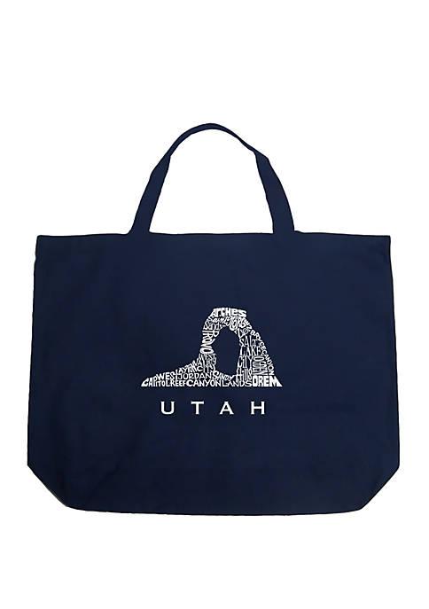 Large Word Art Tote Bag - Utah