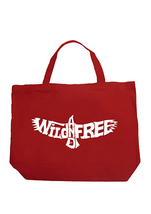 Large Word Art Tote Bag - Wild and Free Eagle