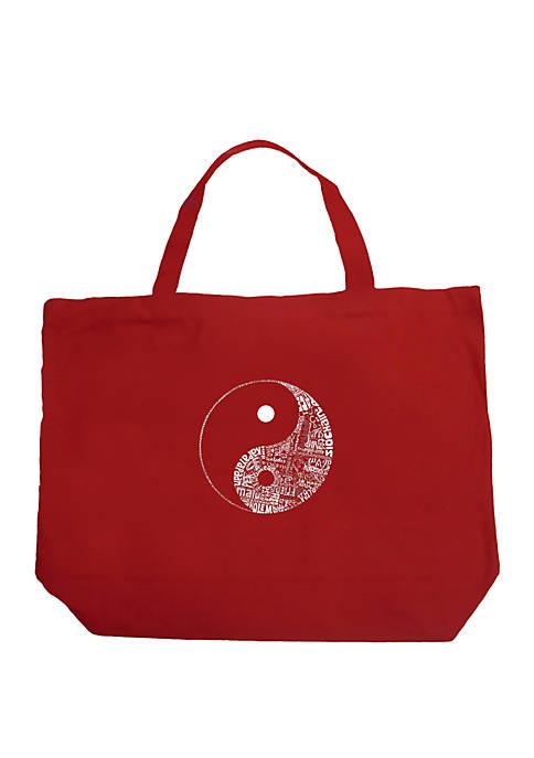 Large Word Art Tote Bag - YIN YANG