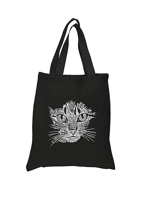 Small Word Art Tote Bag - Cat Face