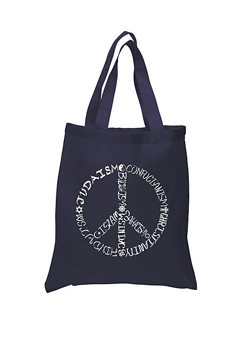Small Word Art Tote Bag - Different Faiths Peace Sign