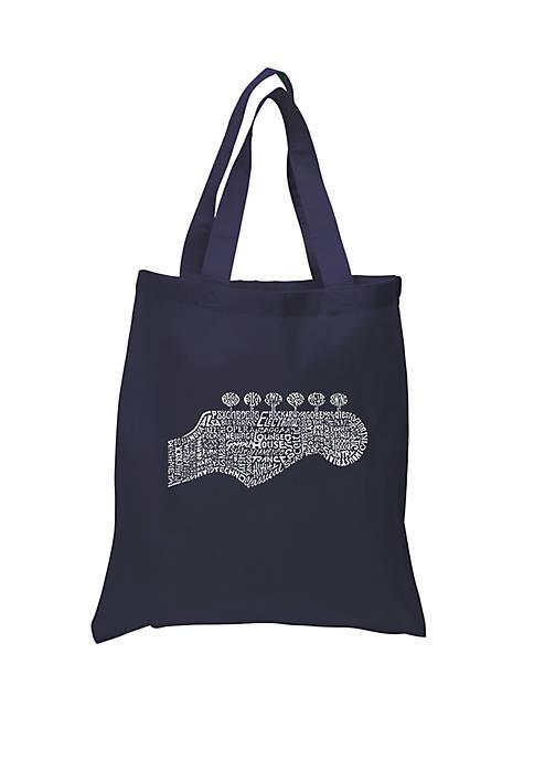 Small Word Art Tote Bag - Guitar Head