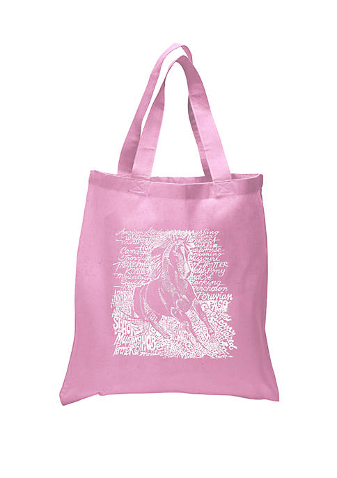 Small Word Art Tote Bag - Popular Horse Breeds