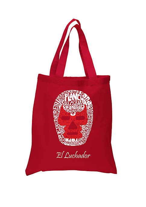 Small Word Art Tote Bag Mexican Wrestling Mask