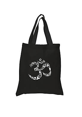 Small Word Art Tote Bag - The Om Symbol Out Of Yoga Poses