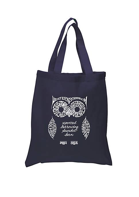 Small Word Art Tote Bag - Owl