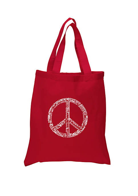 Small Word Art Tote Bag - The Word Peace in 77 Languages