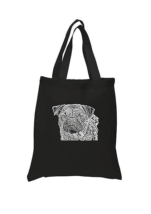 Small Word Art Tote Bag - Pug Face