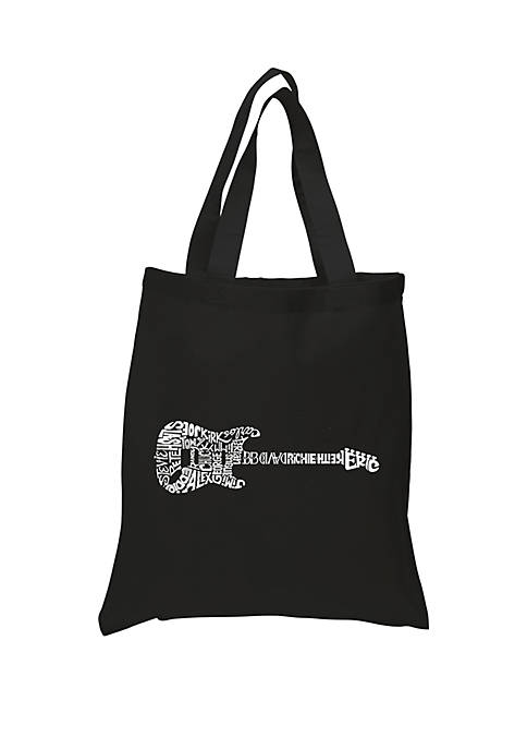 Small Word Art Tote Bag - Rock Guitar