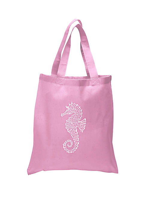 Small Word Art Tote Bag - Types of Seahorse