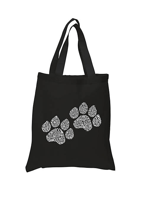 Small Word Art Tote Bag - Woof Paw Prints