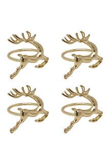 Prancing Reindeer Napkin Ring Set