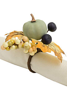 Sage Pumpkin Leaves 4-Piece Napkin Ring Set