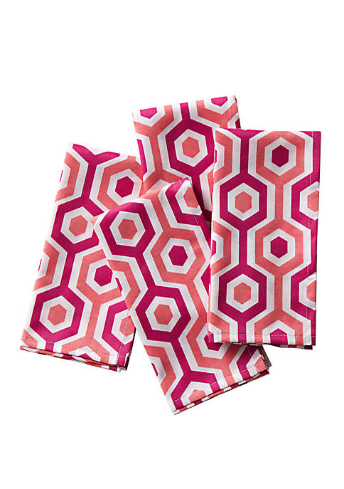C. Wonder Multi Stripe Coral Napkins, Set of