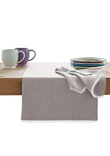 French Perle Dove Gray Table Runner 90-in.