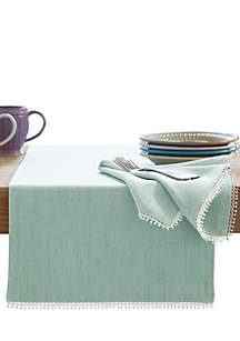 French Perle Ice Blue Table Runner 90-in.