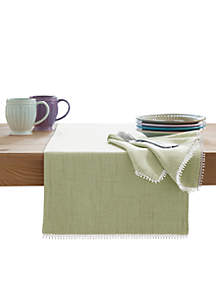 French Perle Pistachio Table Runner 90-in.