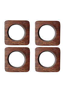 Wooden Square Napkin Rings - 4 Pack