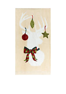 Deer Ornament Fiber Reactive Towel