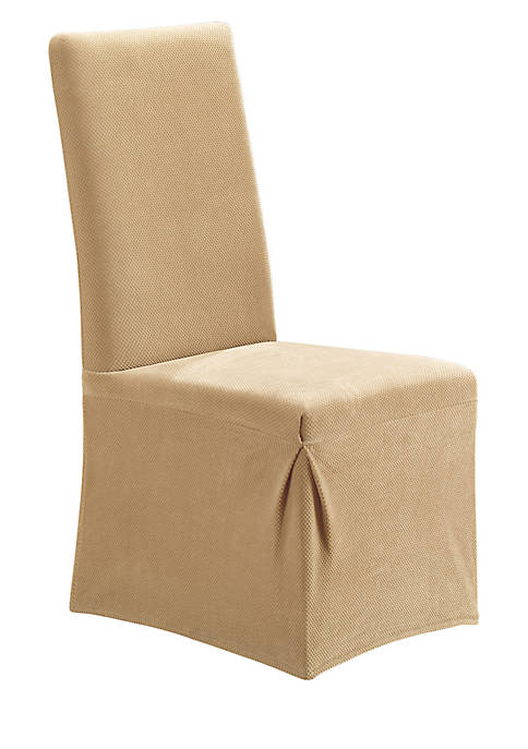 Stretch Pique Long Dining Chair Slipcover