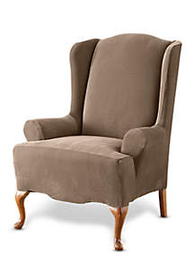 Sure Fit Stretch Pique One-Piece Wing Chair Slipcover