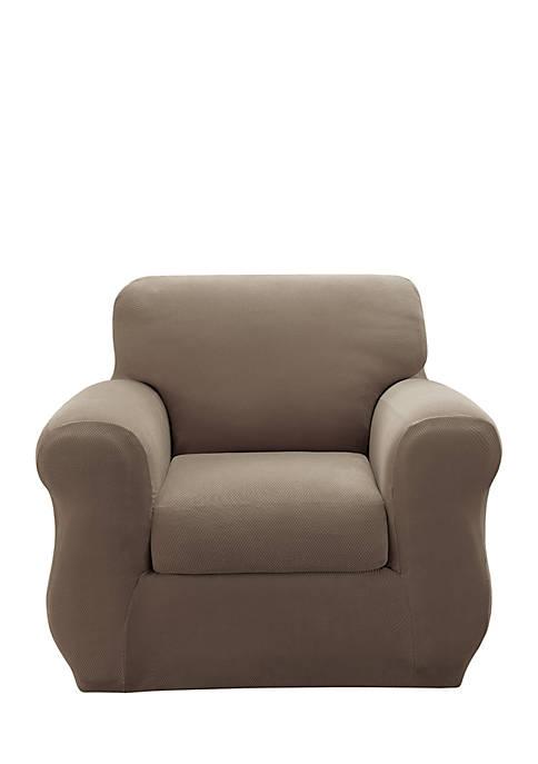 Stretch Pique 2-Piece Chair Slipcover