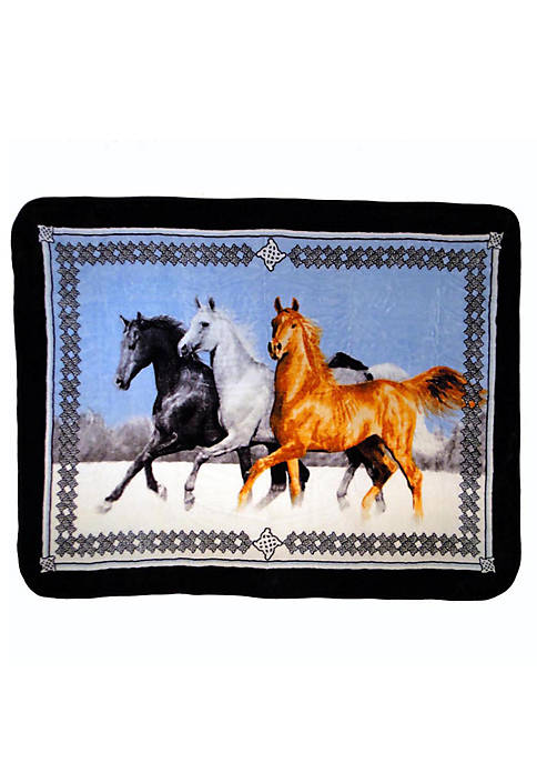 Shavel Hi Pile Luxury Oversized Throw Horses