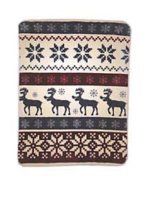 Hi Pile Luxury Oversized Throw  Reindeer