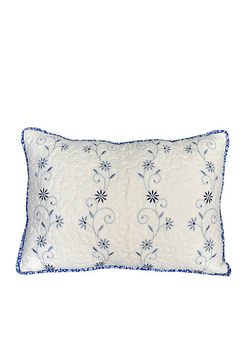 Delphine Blue Floral Embroidered Oblong Decorative Pillow 14-in. x 20-in.