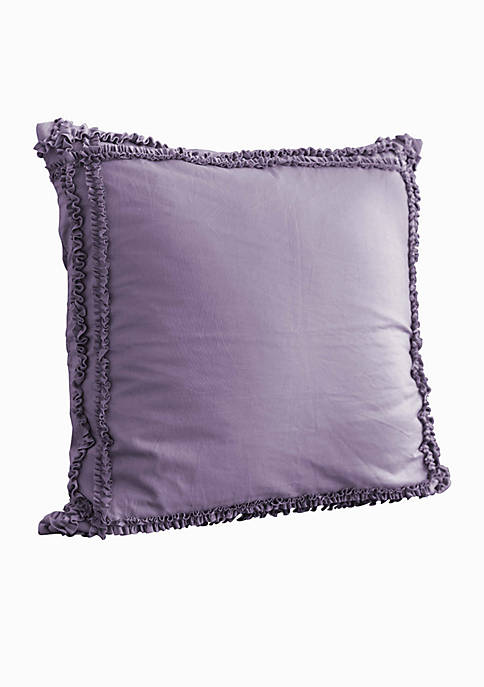 Neveah Purple Rosette Applique Square Decorative Pillow 16-in. x 16-in.