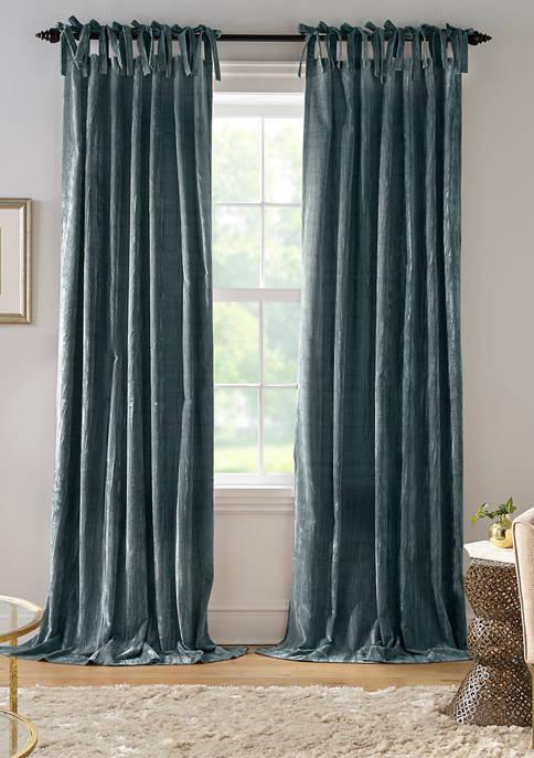 Korena Rustic Vogue Tie Top Crushed Velvet Window Curtain Panel